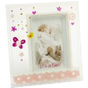 Baby Girl Painted Glass Photo Frame